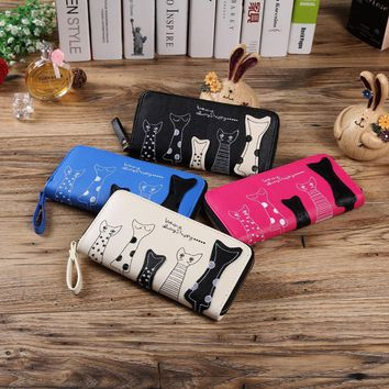 2017 Cat Cartoon Long Women Wallet Leather Creative Female Cion Purse ID Card Holder Casual Loop Zip Ladies Day Clutch Phone Bag