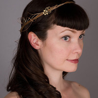 Rustic Wedding Crown Headpiece Gold Twining Branches by sweetlittlesparrow