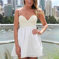 PEARL BUST DRESS , DRESSES, TOPS, BOTTOMS, JACKETS & JUMPERS, ACCESSORIES, SALE, PRE ORDER, NEW ARRIVALS, PLAYSUIT, COLOUR, GIFT CERTIFICATE,,White,SLEEVELESS Australia, Queensland, Brisbane