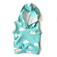 Organic Sleeveless Baby Hoodie Tiffany Clouds