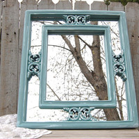Shabby Chic Mirror, Blue, Green, Upcycled, Beach, Wedding Decor, Wood Framed