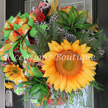 Last One! Summer Wreath, Spring Wreath, Wreath for Summer, Door Hanger, Floral Wreath, Outdoor Wreath, Front door wreath, ready to ship