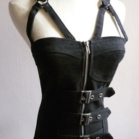 Black Gothic Goth Steampunk Buckle Bondage Punk Cosplay Rustic Corset Top