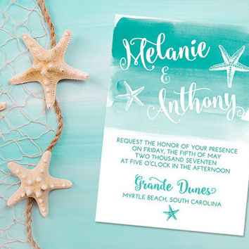 "Beach Wedding Invitation Card - Starfish Invitation - Watercolor Wedding Invitation ""Sea Star Wash"" Sea Wedding Invitation Card - WE PRINT"