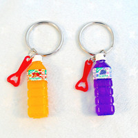 Soda Juice Bottle Keychain, Orange or Grape, Cute, Kitschy, Kawaii :D