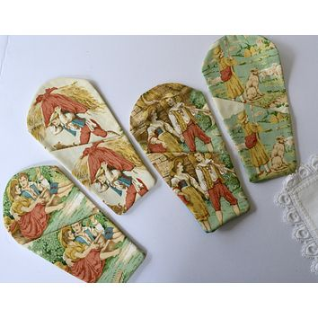 Set of 4 French Toile Custom Made Cutlery Holders / Flatware Pockets  Knife Spoon Fork