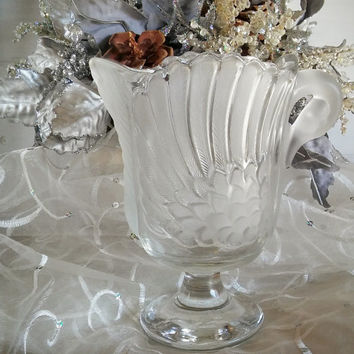 Mikasa Walther Crystal Swan Pitcher, Vintage Mikasa Swan Pitcher Frosted Glass