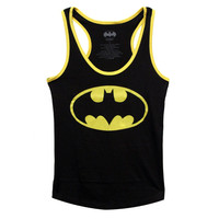 Batman Logo Juniors Racer Tank Top