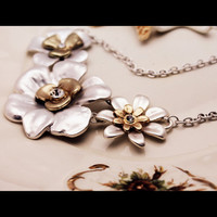 Silver and Gold Matte Flower Necklace