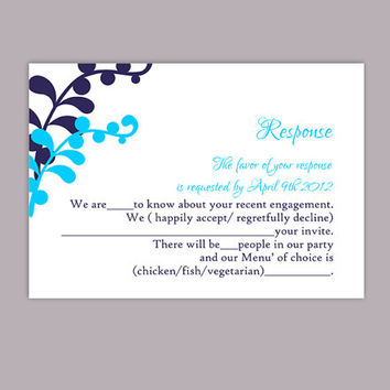 DIY Wedding RSVP Template Editable Text Word File Download Printable RSVP Cards Leaf Rsvp Turquoise Rsvp Card Template Navy Blue Rsvp Card