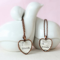 Best friends necklace set.  Two heart necklaces made with vintage sheet music.  Gift for best friends