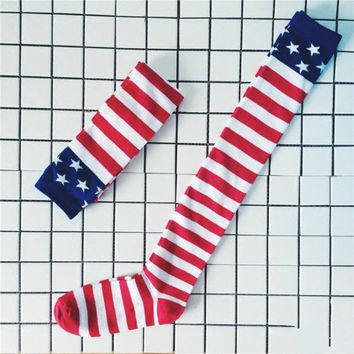 Women American Flag Pattern Knee Thigh High Long Socks