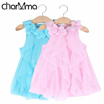 Summer Baby Dresses 2017 Girl Clothing Cute Flower Sleeveless Mesh Girls Birthday Party Dress Baby Tutu Princess Dresses