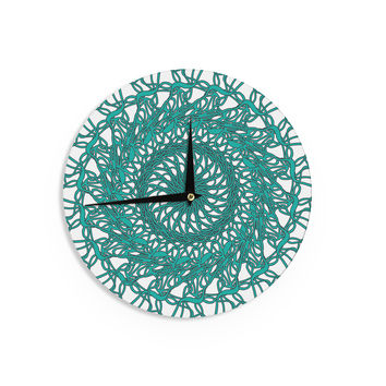 "Patternmuse ""Mandala Spin Jade"" Green Wall Clock"