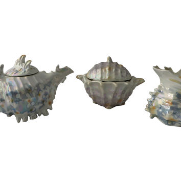 Lusterware Spikey Shell Tea Set, 3/pc