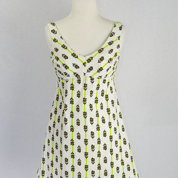Vintage 1970's Polka-dot Stripe Mini Dress Built in Bra ON SALE