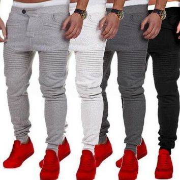 Mens Slim Fit Tracksuit Bottoms Skinny Jogging Joggers Gym Sweat Pants Trousers