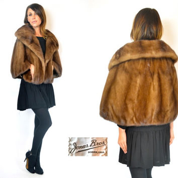 mid century AUTUMN HAZE MINK fur stole cape coat, extra small-medium