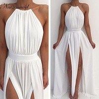 Women's sexy Bohemian gown white bridesmaid floor-length party dress gown F