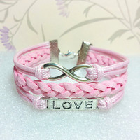 Love Symbol Bracelet,Infinity Bracelet.Pink Wax Cords and Pink Braid bracelet.