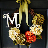 FALL Hydrangea Door Wreath - Monogram Personalized Wreath - Rustic Wreath - Autumn Wreaths - Housewarming Gift