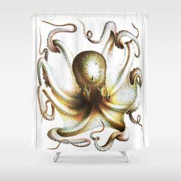 Vintage antique kraken octopus nautical steampunk Victorian book sea monster creature art print Shower Curtain by iGallery