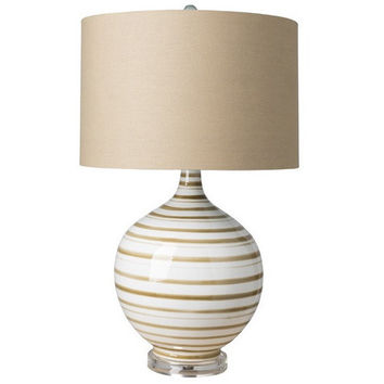Parker Striped Beige Table Lamp