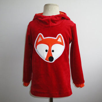 Fox Boys hoodie also Girls Hooded Sweater Handmade Farbenmix Red Orange Custom Woodland Nicky Velvet