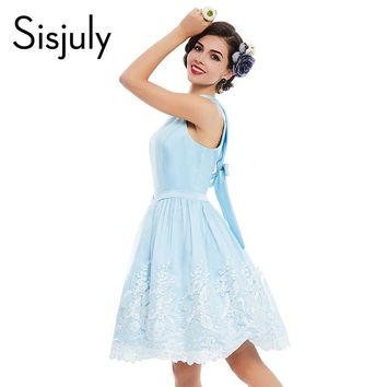Vintage dress blue floral print pin up lace party style women dress cute elegant summer vintage girl dresses