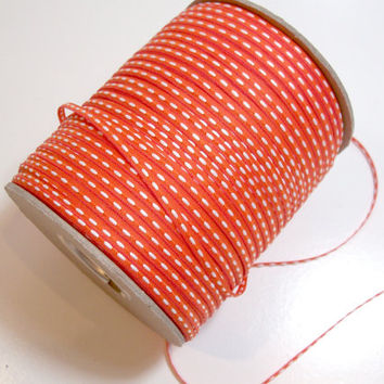 Orange and White Saddle Stitch Ribbon 1/8 inch wide x 10 yards Skinny Ribbon
