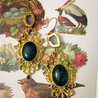 The queen. Insanely fancy dangle earrings or earweights w geode and tigers eye