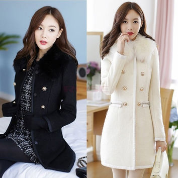 Sexy Women Slim Wool Faux Fur Trench Parka Double-Breasted Winter Coat Jacket SV006184 = 1956955268