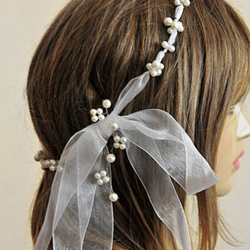 wedding ribbon pearl headband, bridal hairaccessory, weddding accessories, handmade, etsy, wire hairpin, bride, boho wedding, headpiece