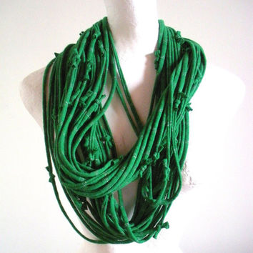 Emerald Green Infinity Scarf Silver Metalic Stripes Upcycled Clothing Kelly Green Circle Scarf Pantone Color of the Year St. Patricks Day