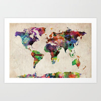 World Map Urban Watercolor Art Print by ArtPause