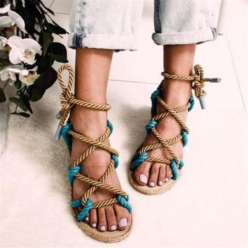 WENYUJH 2019 Women Sandals 2019 Contracted Rome Stagger Hemp Rope Women Sandals Casuals Cross tied Women Shoes 43
