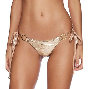 Beach Bunny Siren Song Gold Sequin Side Tie Bottom Bikini Swimwear Separate (Green also available)