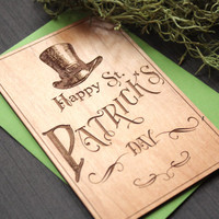 St Patricks Day Cards - Irish Cards - Wooden Saint Patrick's Day Hat Card