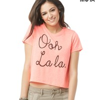 OOH LA LA CROPPED GRAPHIC T