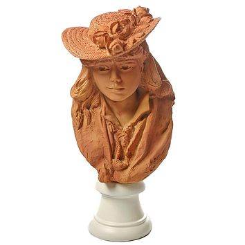 Rodin Portrait Young Girl Rose Beuret in Straw Hat Statue Granddaughter Gift 7.75H