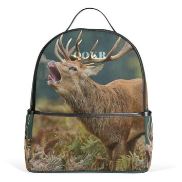 QOKR women backpack elk printing canvas school bags fashion girls and boys animal world school supplies laptop bags for students