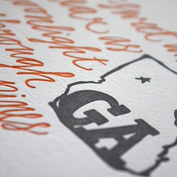 Georgia Letterpress Art Print by 1canoe2 on Etsy
