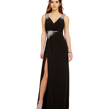 MAC by Mac Duggal Sleeveless Embellished V-Neck Gown | Dillards