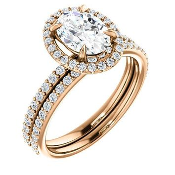 Oval Moissanite Diamond Accent Ice Halo Ring
