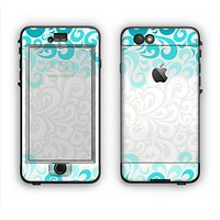 The Teal Blue & White Swirl Pattern Apple iPhone 6 Plus LifeProof Nuud Case Skin Set
