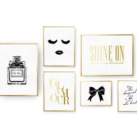 SET of 6 Prints, Woman Set, Glamour Print, Bedroom Decor, Real Gold Foil Print, Home Decor, Typography Art, Shine On Poster, Make Up Print