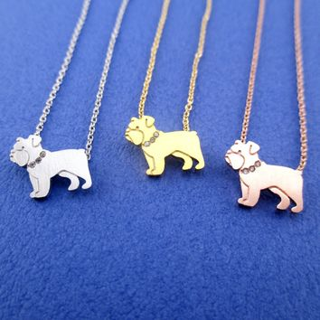 English Bulldog Dog Shaped Pendant Necklace in Silver Gold or Rose Gold