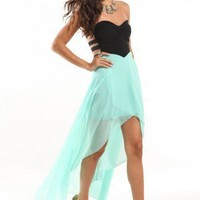 Princess Bust Tail Back Dress in Mint