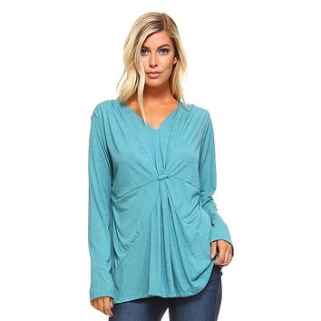 Womens Long Sleeve Gathered V-Neck Top