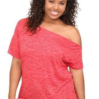 Twist Tees - Red Callie Burnout Off-Shoulder Tee